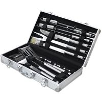 Bbq Grill Tool Kit, Barbecue Tool Set, 14 stainless steel utensils, with Aluminum case, Material: Aluminium alloy