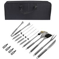 Bbq Grill Tool Kit, Barbecue Tool Set, 14 stainless steel utensils, with Black case, Material: Aluminium alloy