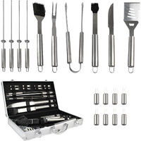 Bbq Grill Tool Kit, Barbecue Tool Set, 18 stainless steel utensils, with Aluminum case, Material: Aluminium alloy