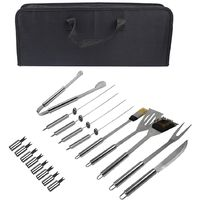 Bbq Grill Tool Kit, Barbecue Tool Set, 18 stainless steel utensils, with Black case, Material: Aluminium alloy