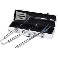 Bbq Grill Tool Kit, Barbecue Tool Set, 3 stainless steel utensils, with Aluminum case, Material: Aluminium alloy