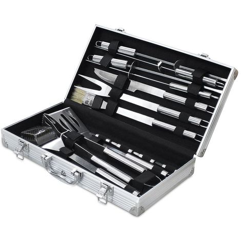 Bbq Grill Tool Kit, Barbecue Tool Set, with Aluminum case, 14 stainless steel utensils, Material: Aluminium alloy