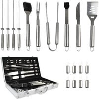 Bbq Grill Tool Kit, Barbecue Tool Set, with Aluminum case, 18 stainless steel utensils, Material: Aluminium alloy