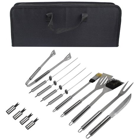 Bbq Grill Tool Kit, Barbecue Tool Set, with Black case, 14 stainless steel utensils, Material: Aluminium alloy