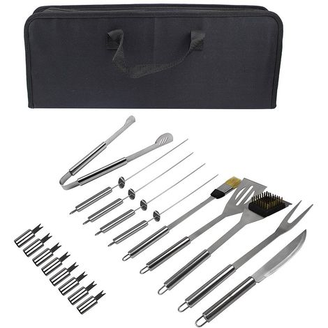 Bbq Grill Tool Kit, Barbecue Tool Set, with Black case, 18 stainless steel utensils, Material: Aluminium alloy