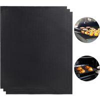 BBQ Grillmatte 3er Set, Antihaft Teflon, zuschneidbar, wiederverwendbare Grillfolie, 0,3 mm, 40x50cm, schwarz