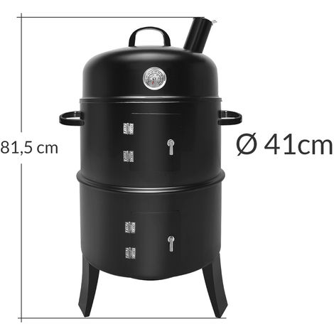 BBQ Smoker Barbecue Round 3-in-1 Smoking Grilling Barrel Thermometer Meat Black
