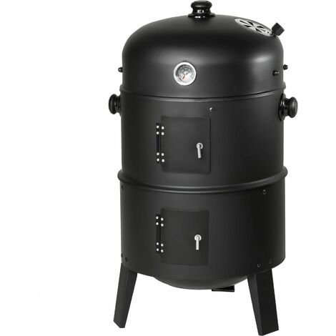 BBQ smoker barrel 3-in-1 - smoker, barbecue smoker, smoker grill - black