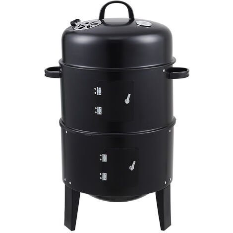 BBQ smoker barrel - smoker, barbecue smoker, smoker grill - black