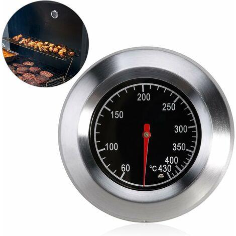 BBQ Thermomètre pour Tous Les barbecues, Fumoir, Fumoir et Barbecue Chariot, Analogique, Accessoires - Noir