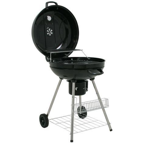 """BBQ-Toro Bouilloire grill """"Birch"""" 57 cm   surface du grill Ø 55 cm   bouilloire grill barbecue charbon de bois, barbecue avec couvercle et thermomètre, rond"""