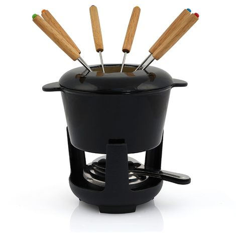 BBQ-Toro cast iron fondue set, black enamelled, 1 L, for 6 people