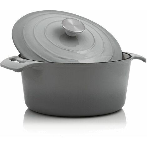 BBQ-Toro Cocotte | 4,0 Liter - Ø 24 cm | Gusseisen, emailliert, grau