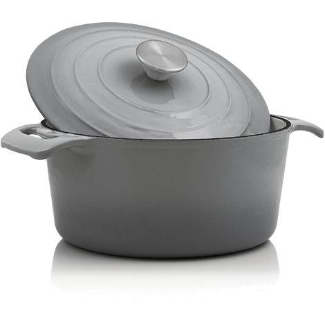 BBQ Toro Cocotte | 4.0 liters - Ø 24 cm | Cast iron, enameled, gray
