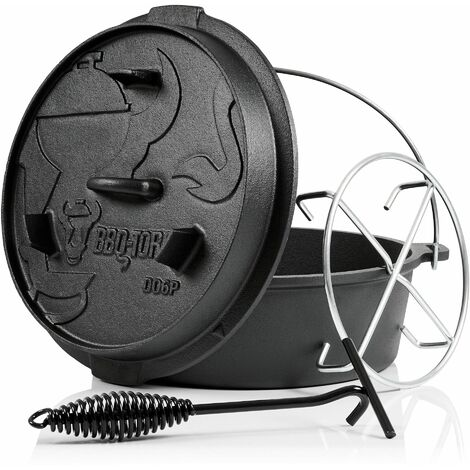 BBQ-Toro Dutch Oven 7,3 L Premium Gusseisen Kochtopf, Gusstopf