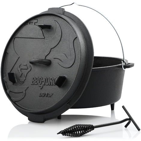 BBQ-Toro Dutch oven DO12P, 13.6 L premium cast iron saucepan, cast iron pot
