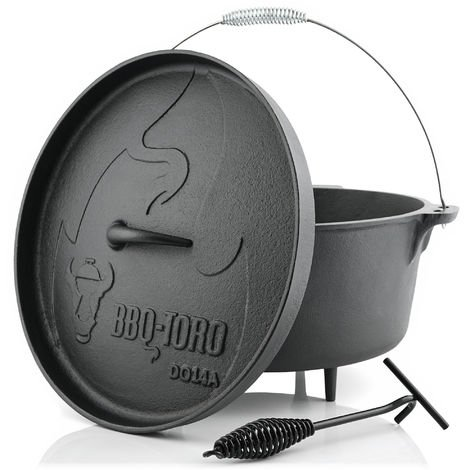 BBQ-Toro Dutch Oven DO14A, 13,3 L Alpha Gusseisen Kochtopf, Gusstopf