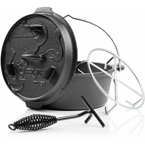BBQ-Toro Dutch Oven DO45PX, 4,2 L Premium Gusseisen Kochtopf, Gusstopf