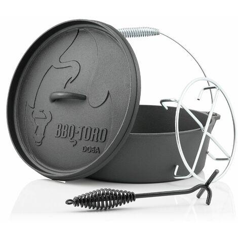 BBQ-Toro Dutch Oven DO6AX, 5,5 L Alpha Gusseisen Kochtopf, Gusstopf