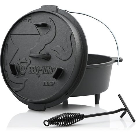 BBQ-Toro Dutch oven DO6P, 7.3 L premium cast iron saucepan, cast iron pot