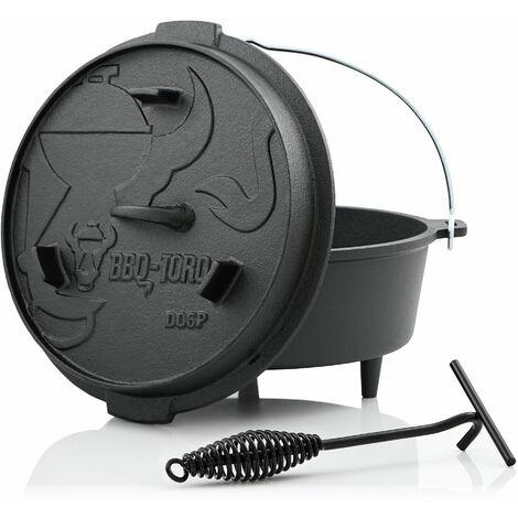 BBQ-Toro Dutch Oven DO6P, 7,3 L Premium Gusseisen Kochtopf, Gusstopf