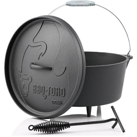 BBQ-Toro Dutch Oven DO9A, 7.2 L Alpha cast iron saucepan, cast iron pot