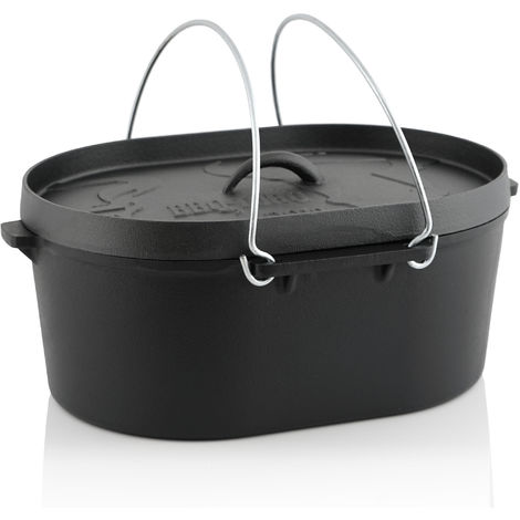 BBQ-Toro Dutch oven pot DO10 - 9.3 L cast iron saucepan, 10 QT roaster
