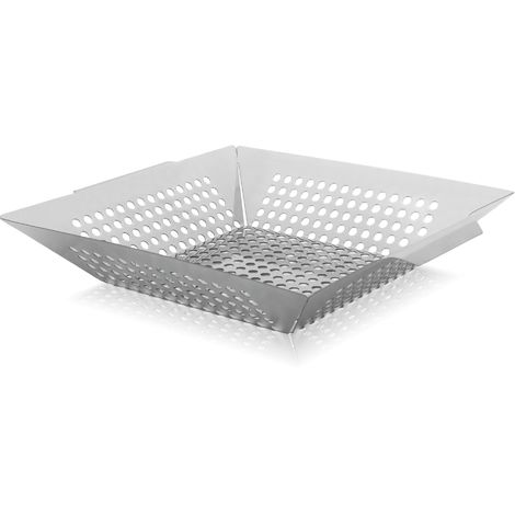 BBQ-Toro Edelstahl Grillkorb, Gemüseschale mit Griffe, Korb 30 x 30 cm