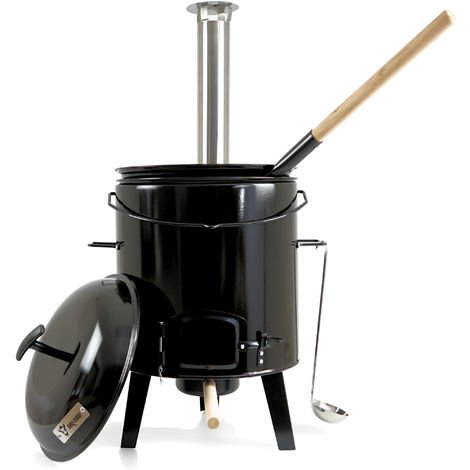 BBQ-Toro enameled field kitchen with lid, 17L kettle and pan
