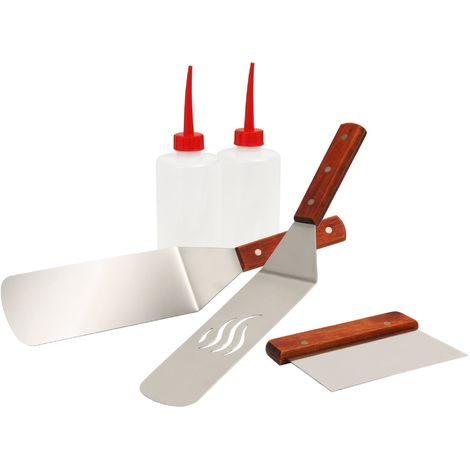 BBQ-TORO grill plancha kit, 5 pieces, with grill turner and spray bottle