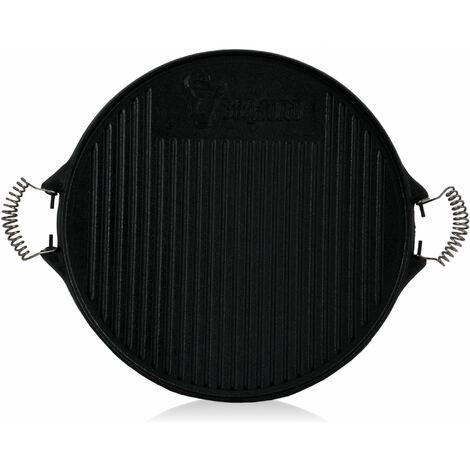 BBQ-Toro Plaque de grillage réversible en fonte | Ø 43 cm | avec poignées métalliques
