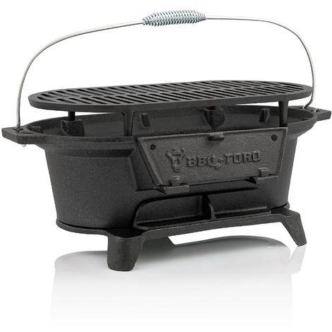 BBQ-Toro Pot à griller en fonte au charbon de bois | avec grille de cuisson | 50 x 25 x 23 cm