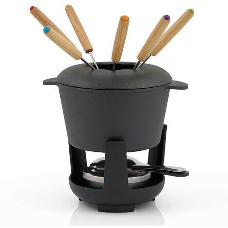 BBQ-Toro Service à fondue en fonte | noir, déjà brûlé | 1 Litre, pour 6 personnes