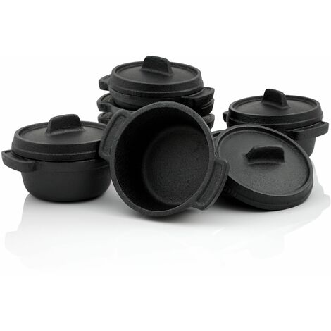 BBQ-Toro Serviertöpfe Set (6-er Pack) Ø 11 cm Gusseisen Mini Gusstopf