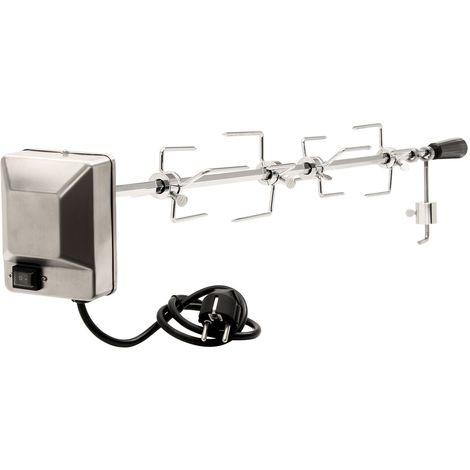 BBQ-Toro Set de brochettes pour grill | 100 cm | 4 aiguilles à viande et moteur en acier inoxydable