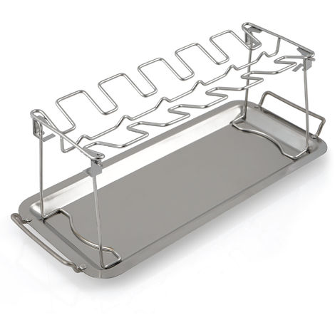 BBQ-Toro stainless steel chicken drumstick holder with drip tray for 12 drumsticks