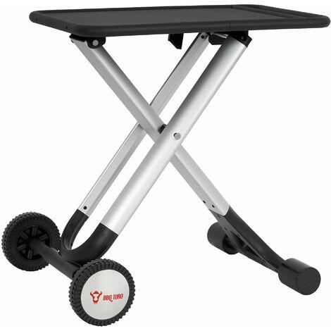 BBQ-Toro Table pliante Chariot de barbecue | Table d'appoint en aluminium
