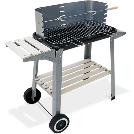 BBQ Trolley Charcoal Barbecue Grill Wheeled Grey