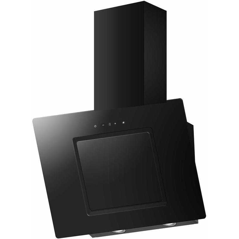 BBTY LED hotte de cuisine de 60 cm hauteur noir verre - MERCATOXL