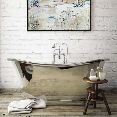 BC Designs Roll Top 1500mm Nickel Freestanding Boat Bath