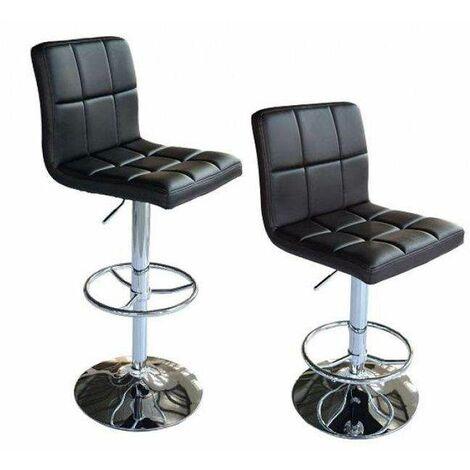 Bc-elec - 5550-3401-BL-DUO Paire de tabourets de bar / Chaises de bar, Hauteur réglable, revêtement Simili Cuir Noir