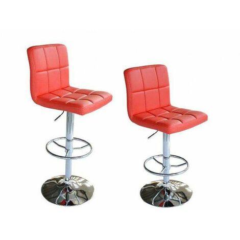 Bc-elec - 5550-3401-RE-DUO Paire de tabourets de bar / Chaises de bar, Hauteur réglable, revêtement Simili Cuir Rouge