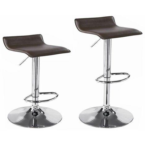 Bc-elec - 5550-4003BLK Paire de tabourets de bar / Chaises de bar, Hauteur réglable, revêtement Simili Cuir Noir