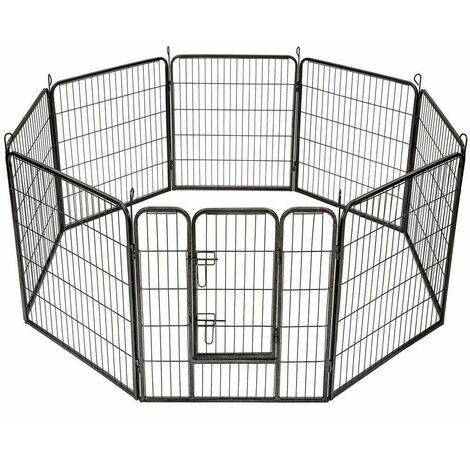 """main image of """"Bc-elec - 5663-1305 Parc à Chiots, enclos pour chiens et autres animaux, 8 panneaux 80x80, modulable - Noir"""""""