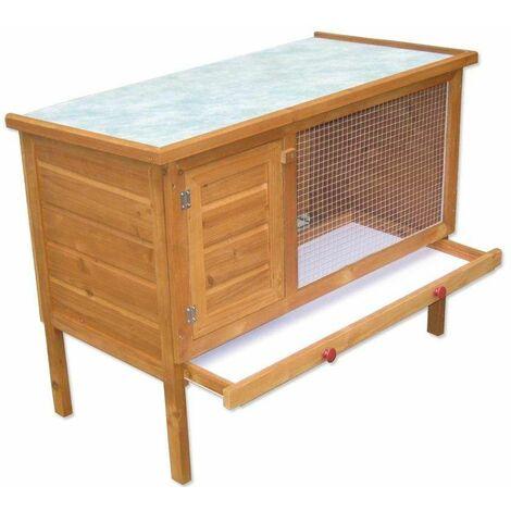 Bc-elec - 5663-1485 Cage pour Lapins, Clapier en bois avec porte et tiroir, 90 x 47 x 70cm - Brun
