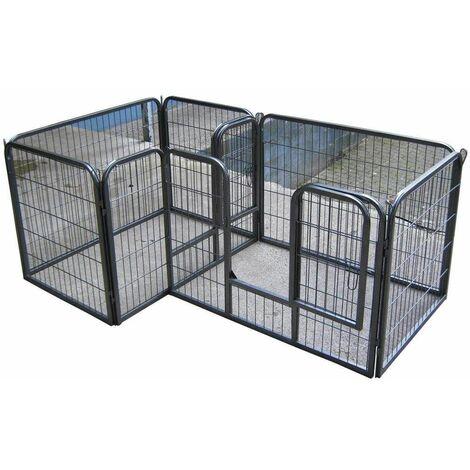 Bc-elec - 5663-1590 Parc à Chiots, chiens et autres animaux, 7 panneaux, modulable - Noir