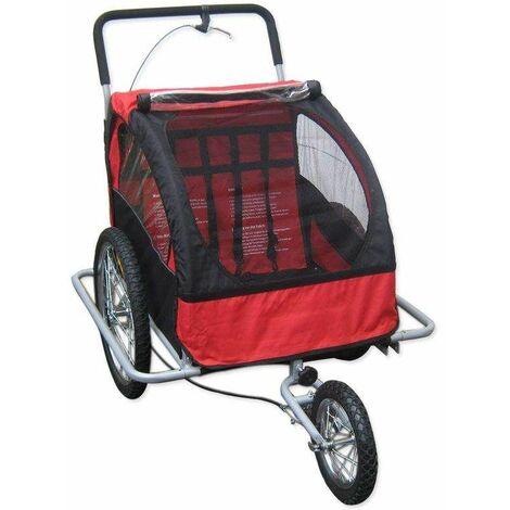 Bc-elec - 5664-0001A Remorque vélo 2 en 1 convertible en poussette et jogger pour deux enfants, coloris Rouge/Noir