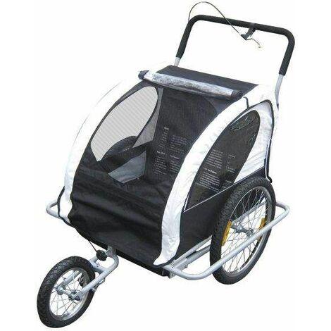 Bc-elec - 5664-0001B Remorque vélo 2 en 1 convertible en poussette et jogger pour deux enfants, coloris Blanc/Noir