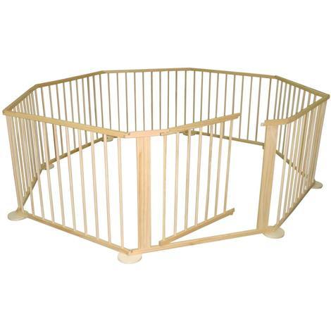 Bc-elec - 5664-0017 LARGE 8 SIDED FOLDABLE WOODEN BABY PLAYPEN ROOM DEVIDER INDOOR AND OUTDOOR USE