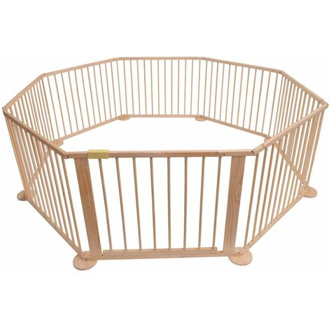 Bc-elec - 5664-0017YLB LARGE 8 SIDED FOLDABLE WOODEN BABY PLAYPEN ROOM DEVIDER INDOOR AND OUTDOOR USE